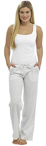 Lora Dora Damen Leinen Hose zugeschnitten Capri/Full Länge Hose UK 10-18 Gr. 42, White Full Pants Only -