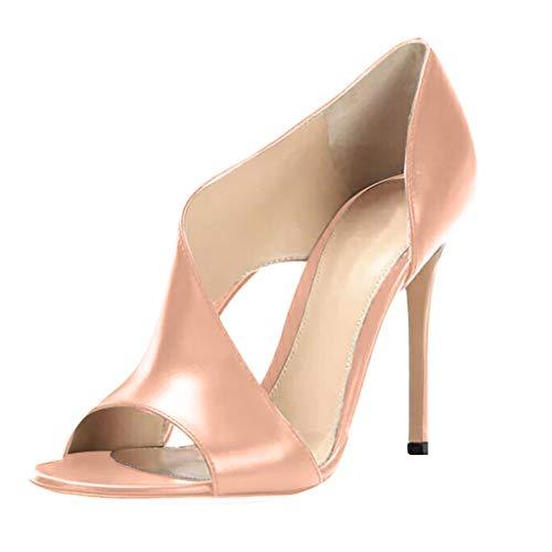 QIMANZI Schuhe Damen High Heels Feiner Hoher Absatz Peep-Toe Ankle Wrap Pumps Spirale Band Sandalen Pink 38 EU Heel Ankle Wrap