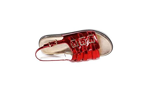 Beauqueen Sandales Femmes Printemps Et Eté Flat Looks Cool Femmes Sandales Rouge Argent Occasionnels Chaussures De Vacances Taille Spéciale Europe Taille 32-43 Silver
