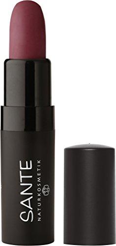 SANTE Naturkosmetik Lipstick Mat Matt Matte Lippenstift, 05 Catchy Plum Lila Matt-Effekt, Intensive Farbpigmentierung, 4,5g