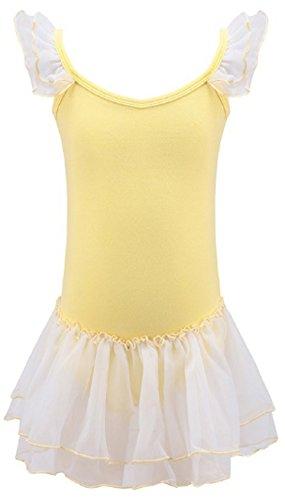 Ho Mall Mädchen Kinder Baumwolle Ballett Empire Taille Tutu Kleid Gymnastik Trikot Body Ballerina Dancewear Trikot mit Chiffon Rock Dance Kostüm Prinzessin Kleid Größe 92 98 104 116 128 134 140 152 164 (Gelb, 140-152)