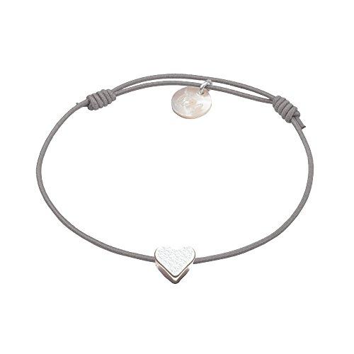 lua accessories - Armband Damen - Elastikband - größenverstellbar - hochwertig versilbertes Herz - Mini Heart Silber (hellgrau)