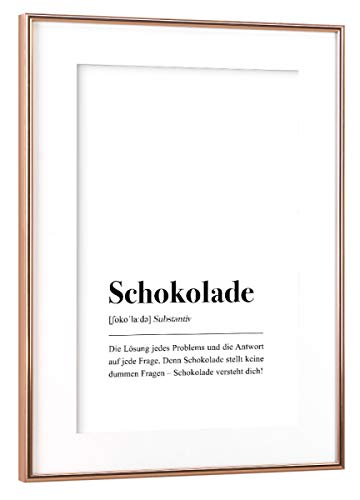 artboxONE Poster mit Rahmen Kupfer 45x30 cm Schokolade Definition (deutsch) von Pulse of Art - gerahmtes Poster