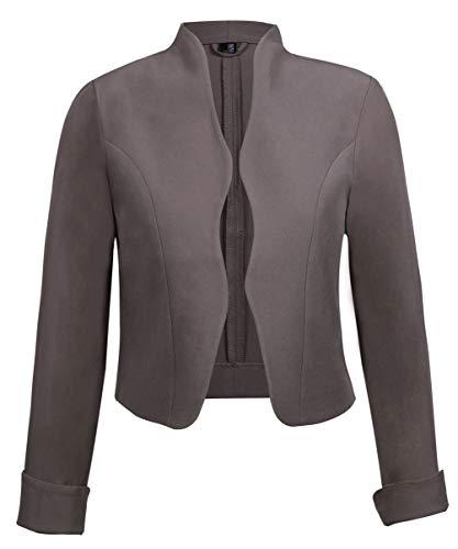 TrendiMax Damen Eleganter Blazer Jacke Kurz Bolero Jäckchen (Khaki, XL) Kurze Jacke