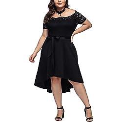 e876636730 FeelinGirl Mujer Vestido de Noche Encaje Largo Traje Talla Extra Grande ( Negro-108