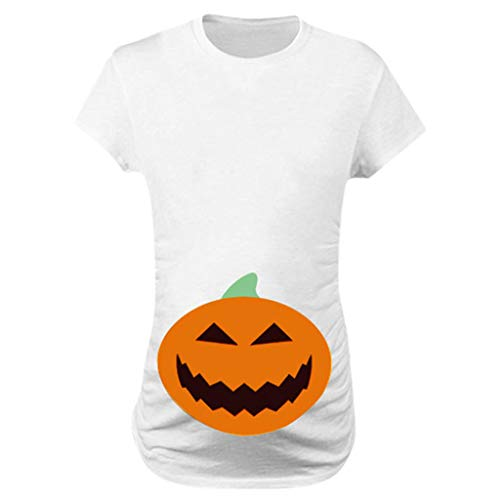 Mutterschaft Baby Kostüm Zombie - Lomelomme Umstandskleidung Frauen Kurzarm Mutterschaft Tops Halloween Bluse Kürbis Gesicht Gedruckt Oberteile Schwangere Frau Halloween Kostüm T-Shirts
