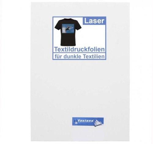 T-Shirt Folie A4 10x dunkle Textilien bedrucken - mit Laser, Farblaser Bügelfolie Transferfolie