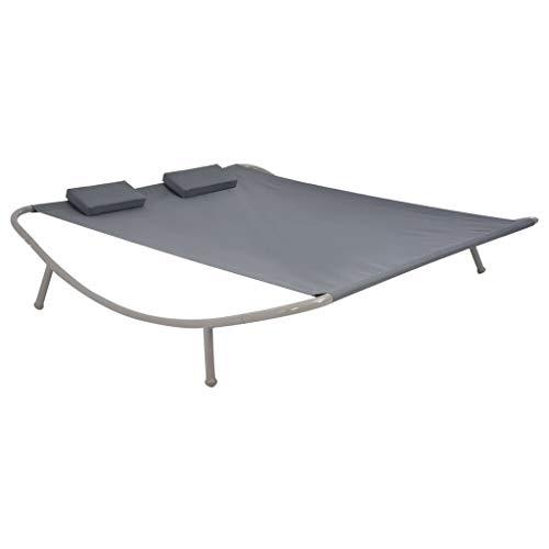 Festnight- Chaise Longue Double de Jardin en Acier Bain de Soleil pour terrasse d'extérieur Patio Anthracite 200 x 173 x 45 cm