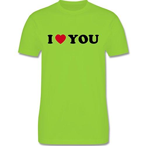I love - I Love You - Herren Premium T-Shirt Hellgrün