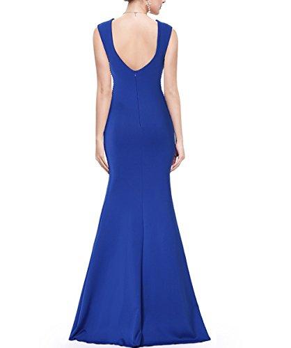 KAXIDY Robe de Soiree Col V Robes de Soirée Longues Femme Robe Cérémonie Robe de Mariée Robe Cocktail Bleu