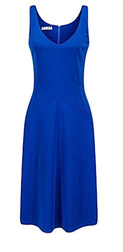 Mesdames Robes Habillées Col V Sans Manche Mi Longues Bustier D'Été Retro Robes De Soirée Robes D'Été Bleu