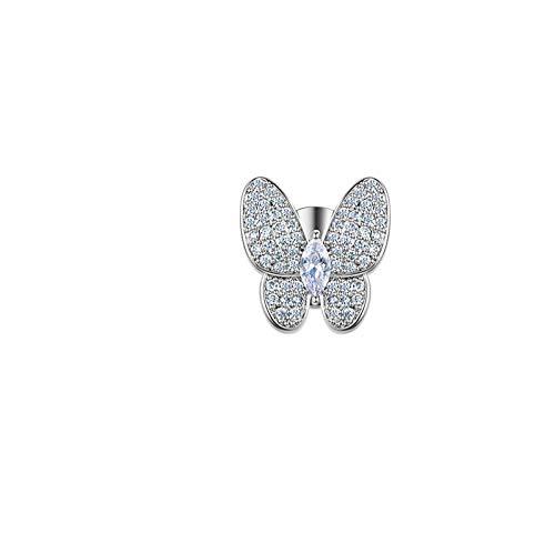 Laylae Brosche Broschen Kleine Brosche Weiblichen Stift Anti-Licht-Accessoires Niedlichen Ausschnitt Hemd Schmetterling Kragen Bekleidungszubehör - Kaltes Silber Single -