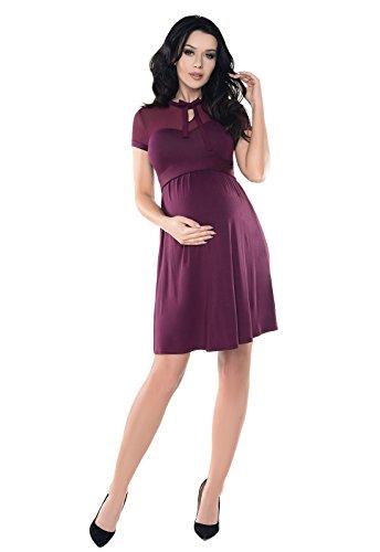 Violettes Umstandskleid aus Spitze knielang kurze Ärmel