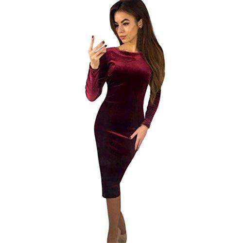 GreatestPAK Robes, Sexy Femmes O Cou À Manches Longues Robe Dos Nu Moulante Soirée (Vin Rouge, S)