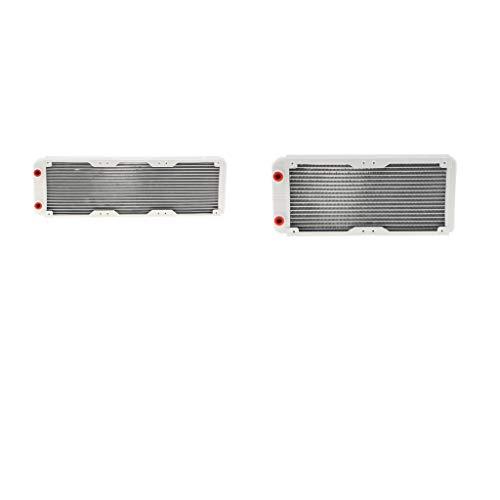 F Fityle 2 Stücke G1/4-Zoll Gewinde Desktop-Wasserkühler Aluminium Wärmeaustauscher für CPU, CO2 (240mm + 360mm)