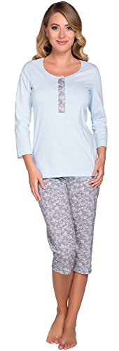 Italian Fashion IF Femme Ensemble de Pyjama Juka 0222 Bleu