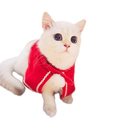 Fenverk 1Pc Katze Hund Weihnachten Ankleiden Haustier KostüM Cosplay Kombination Mantel HüNdchen Klein Halloween Kleider Bezaubernd Rot S M L(Mantel,M)