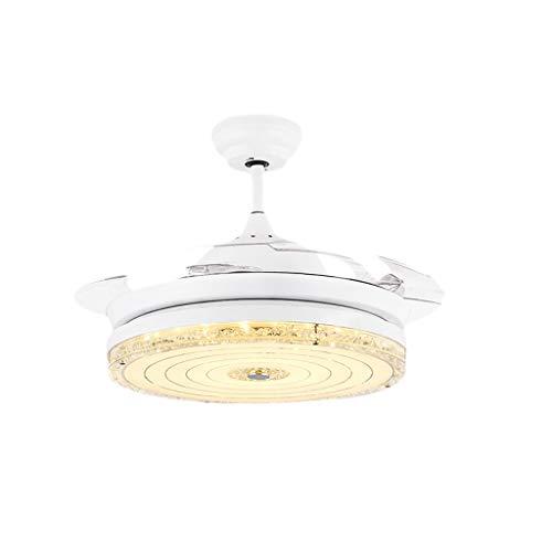 Lampen Deckenventilator Kristall Lampe Unsichtbarer Ventilator Lampe Wohnzimmer Moderne Vertraglich Esszimmer Schlafzimmer Haushalt Fernbedienung LED Lüfter Kronleuchter 28 Watt Licht Stumm -