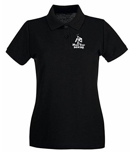 T-Shirtshock - Polo pour femme T0408 MuayThai arti marziali Noir