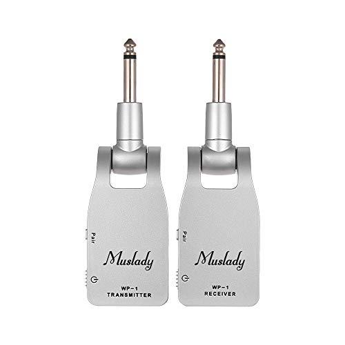 Muslady Gitarrensystem 2.4G Kabellos Sender & Empfänger Eingebaut Wiederaufladbare Lithium Batterie 30M Übertragungsbereich zum Elektrische Gitarre Bass (Silber)