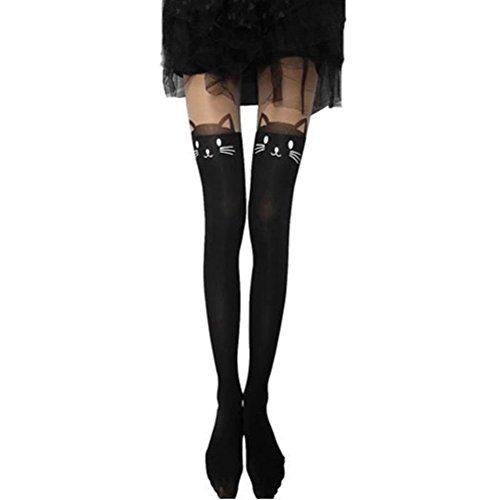 laixing Deft diseño calcetines para mujer gato negro dibujos animados tatuaje Medias Medias alta elástica calcetín