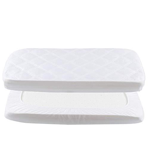 Baby Spannbettlaken Wasserdichte Spannbetttuch Atmungsaktiv Bettlaken Laken für Beistellbett weiß 50x90cm von YOOFOSS