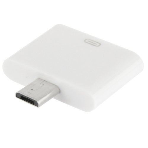 Mikro-USB-Adapter zu iPhone, 30 Kontakte, für Samsung Galaxy S4 / i9500 / Galaxy Note II / N7100 / S III / i9300 / Galaxy Note / i9220 / Galaxy S II / i9100 (Weiß) (Mikro-hdmi-adapter Für Android)