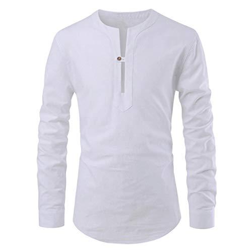 KIMODO Herren Einfarbig Stehkragen Hemd Mode T-Shirt Langarm Top Freizeit Bluse Slim Fit Shirt für Männer (Weiß, XL) Velvet Holiday-outfit