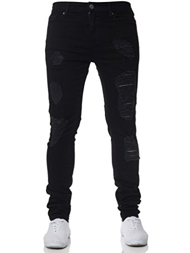 Men's Clothing Disciplined Man Jeans Slim Fit Patchwork Denim Ripped Zipper Skinny Jeans Knee With Hole Embroidery Pocket Designer Pencil Pants 100%cotton Moderate Cost