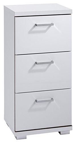 CAVADORE Badezimmer Seitenschrank NUSA in Hochglanz Weiß lackiert / Kleiner Badschrank mit 3 Schubladen und silberfarbenen Griffen / 35.5 x 31.5 x 74 cm (B x T x H)