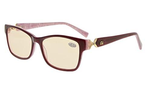 Eyekepper Lunettes Ordinateur / lunette de lecture pour femme - anti eblouissement fatigue - protection UV - anti rayon bleu - verre teintee ambre monture violet +1.75