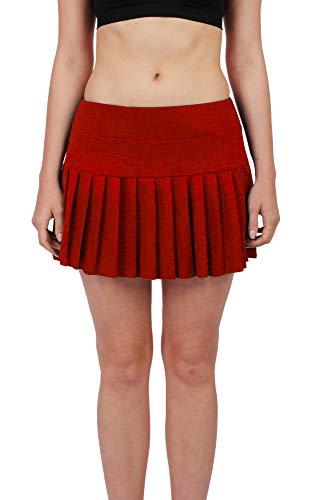 Plissee Damen Tasche (Damen Tennis-Rock mit Plissee-Faltenrock, hohe Taille, Sport-Aktiv-Kleidung mit Taschen - Rot - Klein)