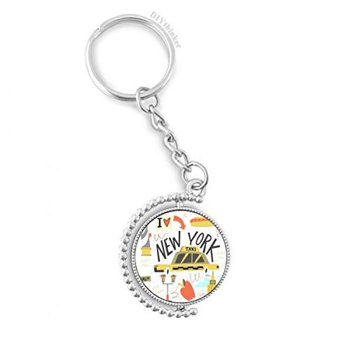 DIYthinker Amerika New York City Freiheit Illistration Drehbare Schlüsselanhänger Ringe 1.2 Zoll x 3.5 Zoll Mehrfarbig -