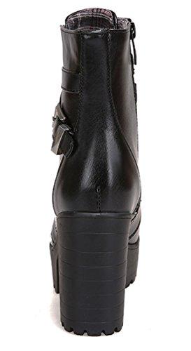 YE Damen High Heels Plateau Stiefeletten mit Schnallen Blockabsatz Schnürung Short Ankle Boos Herbst Winter Schuhe Schwarz