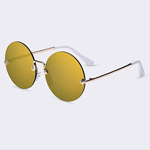 JU DA Sonnenbrillen Runde Rimless Sonnenbrille Frauen Vintage Sonnenbrille Frauen Weibliche Marke Design Verspiegelte Linse Uv400 Gläser Lunette De Soleil C02Gold