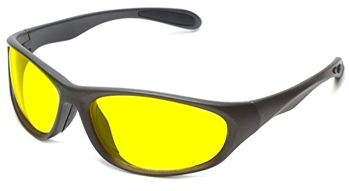 Nachtsichtbrille Auto Fahren Matt Grau, Gelben Gläser Nachtsicht Brille Sonnenbrille Fall und Tuch