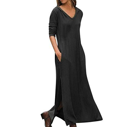 Go First Hot! Frau Schlitz Mit Kapuze Mit Tasche T-Shirt Kleid Einfarbig Langarm Langes Kleid Lässig V-Ausschnitt Frühling Rock (Color : Schwarz, Size : Asian XL= US L)