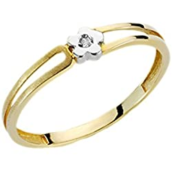 Anillo bicolor oro 18kt con diamante
