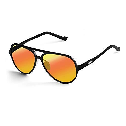Sonnenbrille Herren Polarisiert 100% UV400 Schutz Aviator Pilotenbrille für Frauen und Männer AL-MG Metallrahmen Extra Leicht für Autofahren Alle Außenaktivität