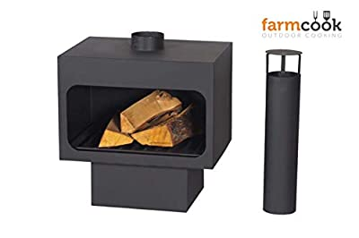 Arizona Freestanding Steel Wood Burning Fireplace With Chimney Chimenea from Farmcook