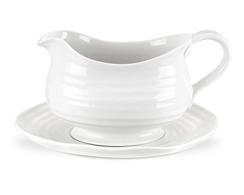 Portmeirion Sophie Conran White Gravy Boat and Stand by Portmeirion