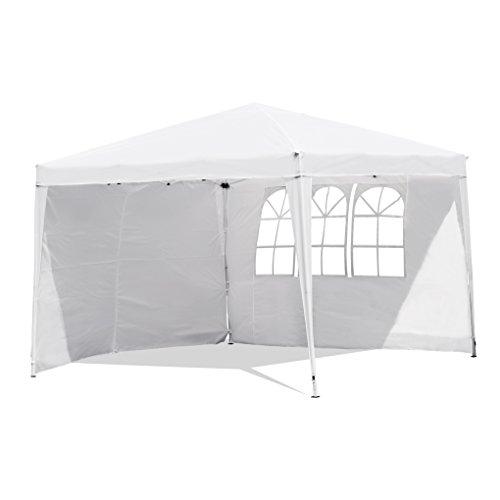 Sekey Garten Pavillon 3 x 3 m Faltpavillon einsetzbar als Gartenpavillon, Party- und Festzelt, Camping- und Festival-Zelt, Gartenmöbel,Gartenlauben,Wasserdicht, mit zwei,Seitenwänden,weiß