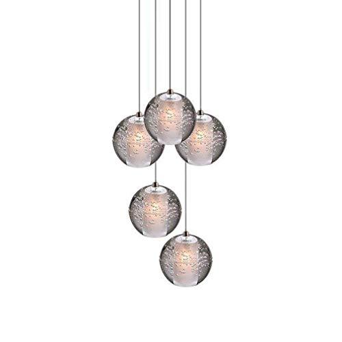 Bola de Cristal LED Lámpara de Techo Colgante para Sala de Estar Loft Escalera Vestíbulo Comedor Mesa Bar Dormitorio Chrome Lámpara Colgante Altura Ajustable Araña Moderna Iluminación Lux, 5 Luces