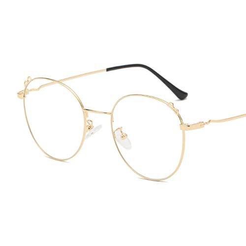 Sakuldes Brillenbrillen, rund, optischer Rahmen, klare Gläser, Unisex Gold
