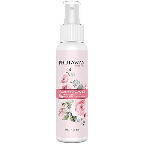 Phutawan Rosenwasser Bio - Natürliche Gesichtsreinigung mit 100% Rosen-Hydrolat I Rose Water gegen Falten, Augenringe und Porenreiniger I Vegane Naturkosmetik (100ml)