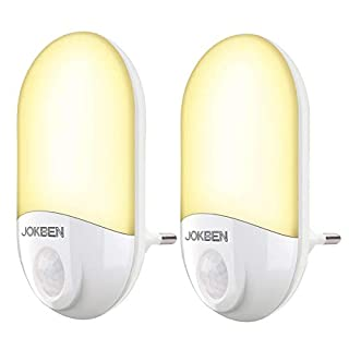 LED Steckdose Nachtlicht mit Bewegungsmelder und Dämmerungssensor Steckdosenlicht PIR Sensorleuchte Orientierungslicht für Schlafzimmer Flur Treppe, 2 Stück Warmweiß (Mehrfarbig)