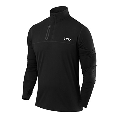 Men's TCA Fusion Pro QuickDry Long Sleeve Half-Zip Running Top Black S