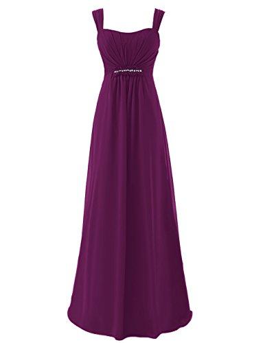 Dresstells Damen Bodenlang Chiffon Promi-Kleider Ärmellose Abendkleider Grape