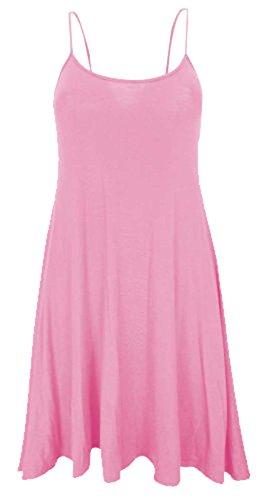 Women Celebrity Scoop Neck Sleeveless Swing Vest Dress Ladies Top Size 8-22 (M/L-UK(12-14), Baby Pink)