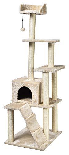 AmazonBasics - Albero per gatti grande, più torri, 61 x 155 x 48,2 cm, beige